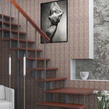 Модульная лестница Статус (c поворотом на 90° и площадкой) шаг 180