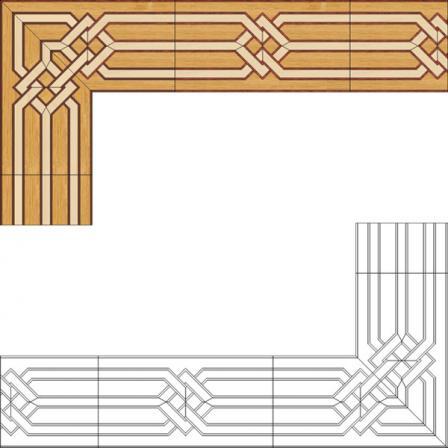 Бордюр художественный паркетный Б12 (дуб РС, клен, мербау) 150мм