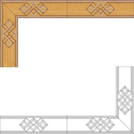 Бордюр художественный паркетный Б17 (дуб РС, клён, орех) 150мм