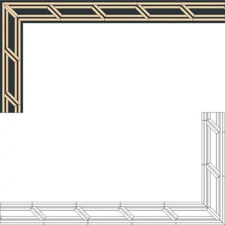 Бордюр художественный паркетный Б27 (клен, венге) 74мм