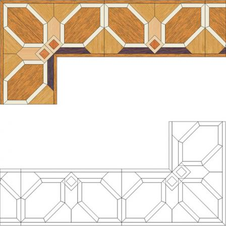 Бордюр художественный паркетный Б28 (бук, дуб РС, клен, мербау, палисандр) 183мм