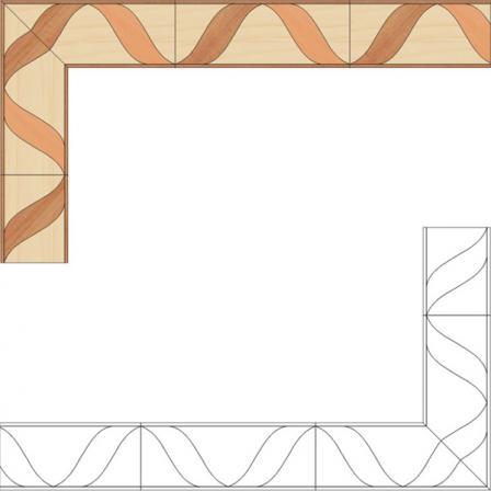 Бордюр художественный паркетный Б33 (груша, клен, орех) 140мм
