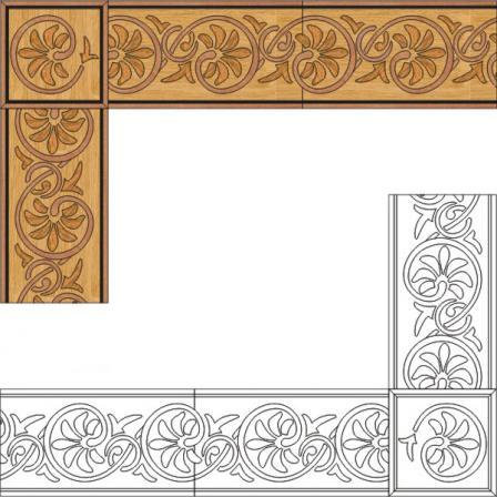 Бордюр художественный паркетный Б60 (венге, дуб РС, мербау, орех) 164мм