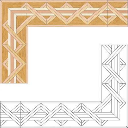 Бордюр художественный паркетный Б7 (бук, граб, дуб РС, клен, ясень) 160мм