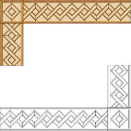 Бордюр художественный паркетный Б8 (дуб РС, клен, мербау) 130мм