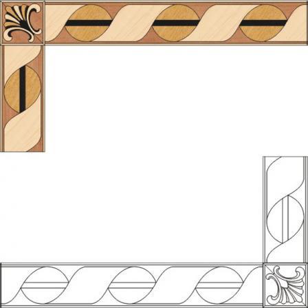 Бордюр художественный паркетный Б81 (венге, дуб РС, клен, орех) 120мм