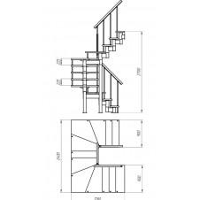 Модульная лестница Спринт (с поворотом на 180° забежная) шаг 225
