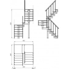 Модульная лестница Комфорт (с поворотом на 180° и площадками) шаг 225